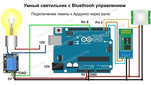 Схема светильника на Arduino с Bluethooh управлением