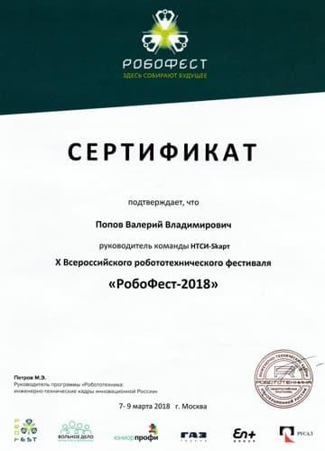 Руководитель команды X Всероссийского робототехнического фестиваля