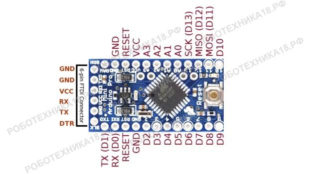 Распиновка Arduino Pro Mini ATmega328
