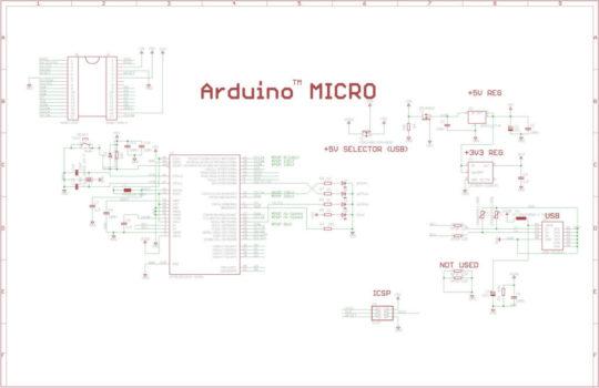 Принципиальная схема Arduino Micro