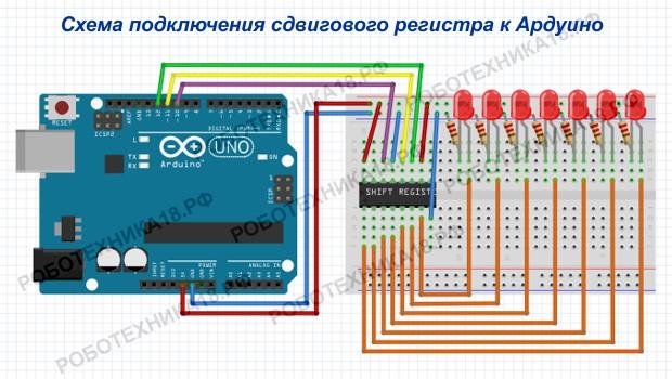 Схема подключения сдвигового регистра 74hc595