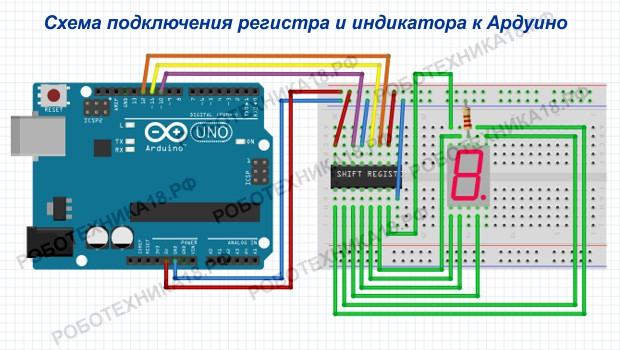 Схема подключения сдвигового регистра 74hc595 и индикатора к Ардуино