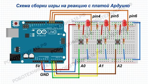 Схема сборки Arduino Game на проверку реакции