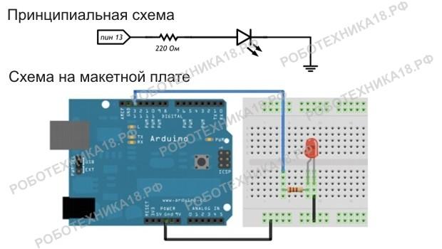 Управление светодиодом на Arduino UNO с компьютера
