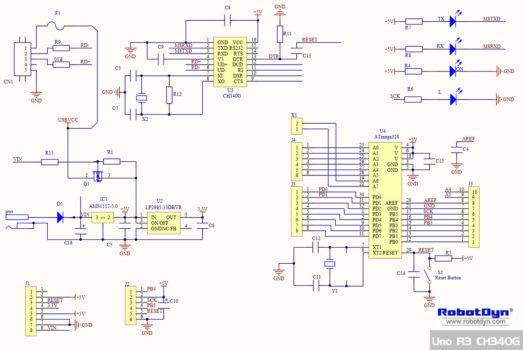Принципиальная схема платы RobotDyn UNO R3