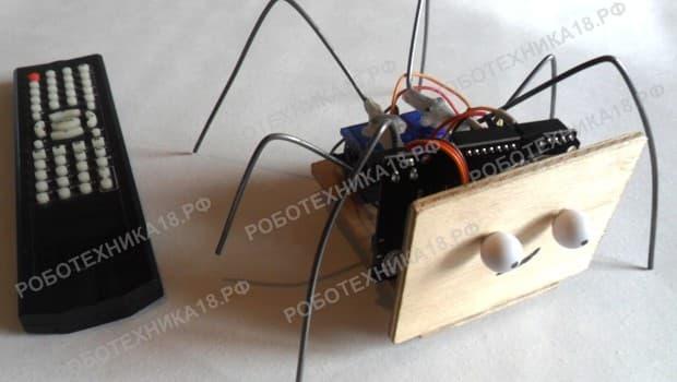 Сборка робота паука на ИК управлении своими руками