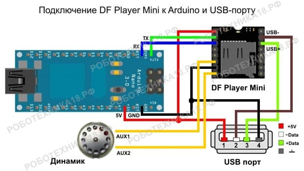 Схема подключения модуля DF Player Mini к Arduino Nano