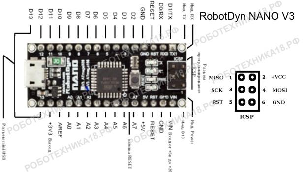 Схема RobotDyn NANO V3 ATmega168 с обозначениями портов