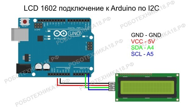 Подключение LCD 1602 к Arduino UNO через I2C