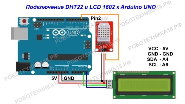 Метеостанция на DHT22 и LCD 1602