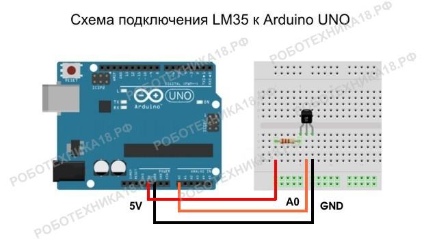 Схема подключения LM35 к Arduino UNO
