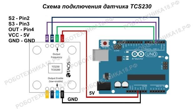 Схема подключения датчика цвета TCS230 к Ардуино