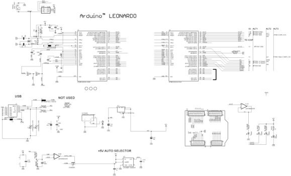 Arduino Leonardo ATmega 32U4: принципиальная схема