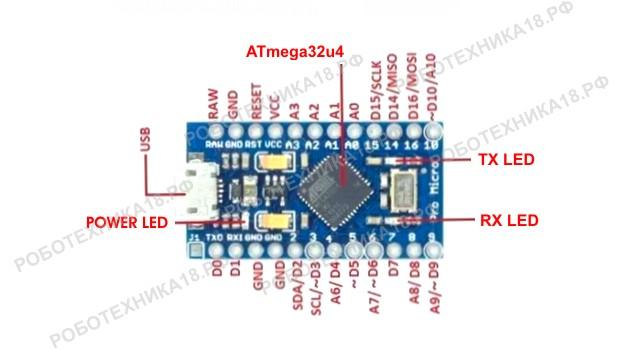 Плата Arduino Micro pinout (распиновка платы)