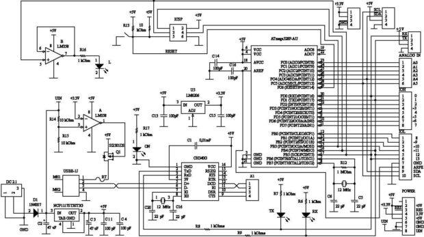 Arduino UNO R3 схема принципиальная электрическая