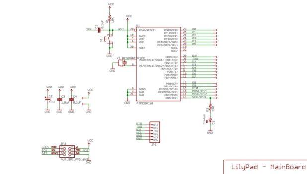 Плата LilyPad схема принципиальная электрическая