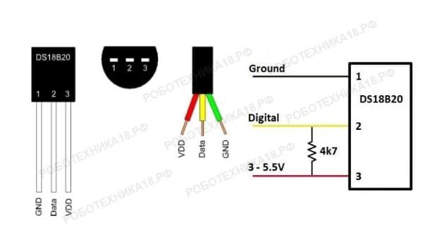 Подключение и распиновка термодатчика ds18b20