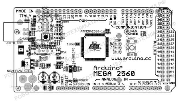 Arduino Mega 2560: схема портов и монтажная схема платы