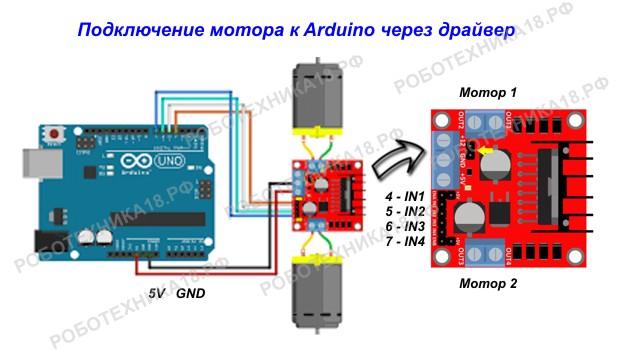 Схема подключения двух моторов через драйвер l298n