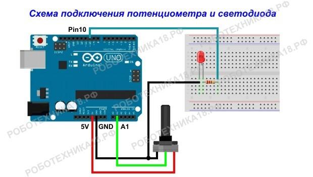 Схема подключения потенциометра и светодиода к Ардуино